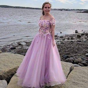 Off the shoulder tulle prom dress M8873
