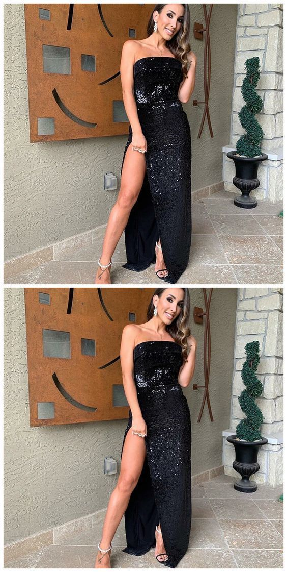 Strapless Mermaid Black Prom Dress With Split M8874