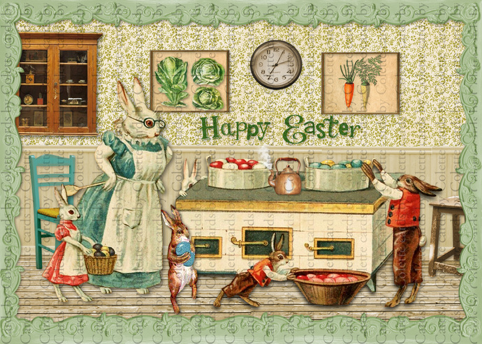 Easter Bunnies Coloring Easter Eggs Digital Collage Greeting Card3167