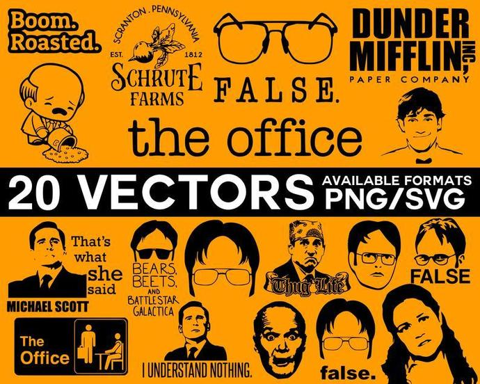 The Office Vector Pack, The Office Silhouette, Michael Scott Vector, Dwight