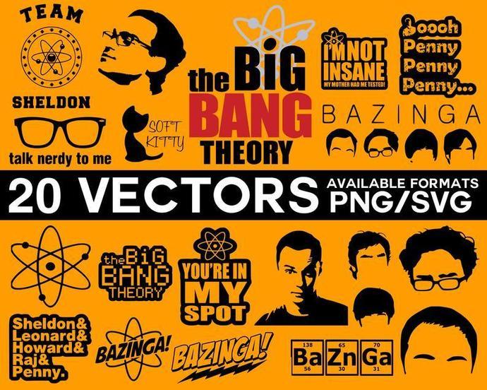 The Big Bang Theory Vector Pack, Big Bang Theory SVG, Bazinga Vector, Big Bang