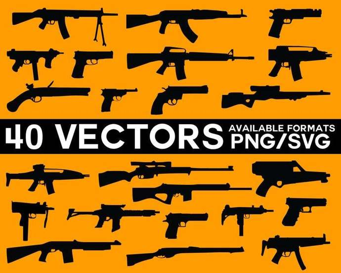 Gun Vector Pack, Guns Vector, Gun SVG, AK47 Vector, Uzi Vector, Gun Cricut