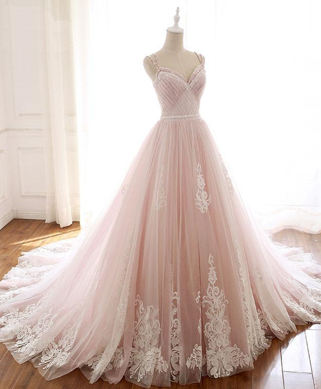 Pink Lace Tulle Princess Sweetheart Formal Dress, Straps Pink Prom Dress