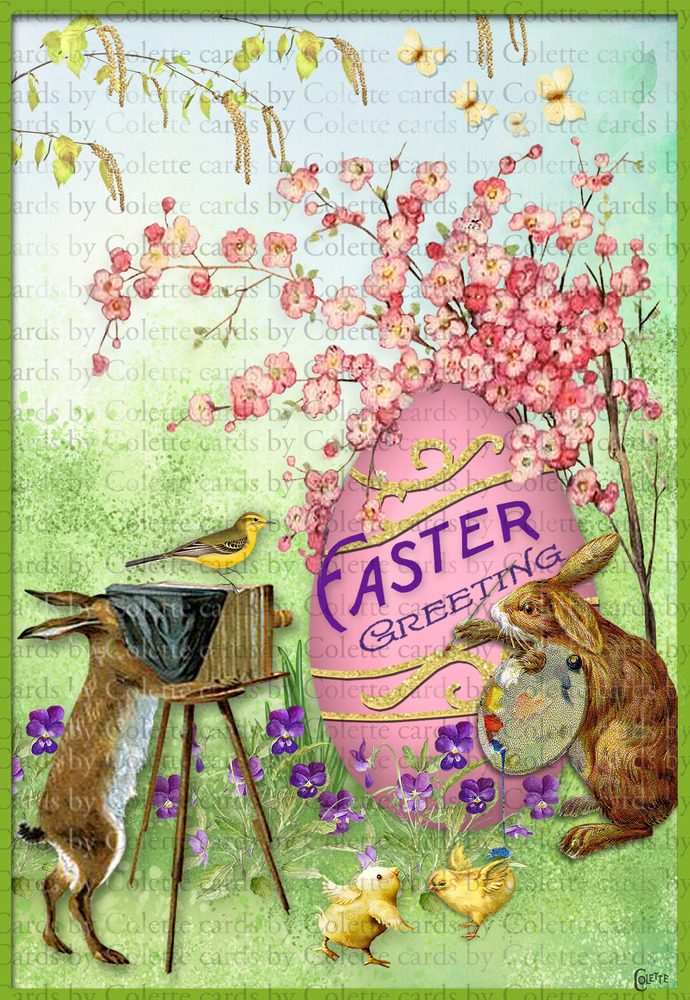 Easter Bunny Painting Digital Collage Greeting Card3169