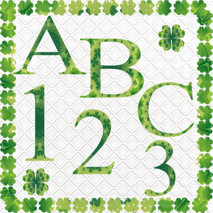 ABC and Numbers 44a-Digital ClipArt-Fonts-Art Clip-Clover-Gift
