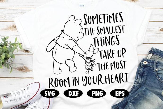 Sometimes the smallest things take up the most room in your heart SVG, Winnie