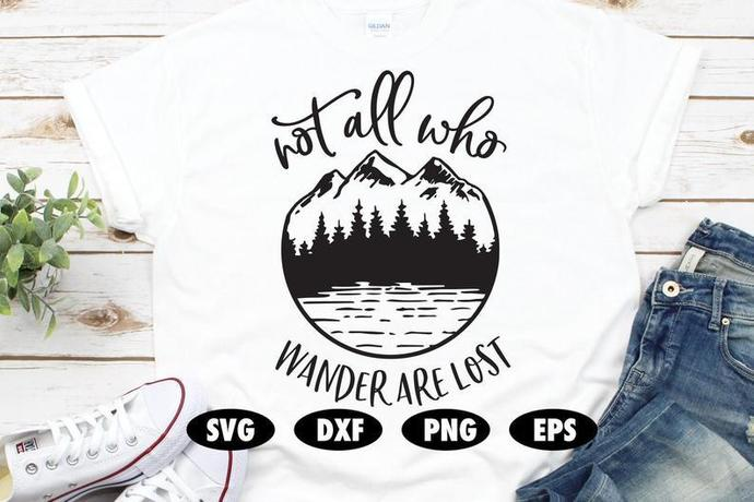 Not all who wander are lost svg, Camping svg, Adventure svg, Mountain svg,Pine