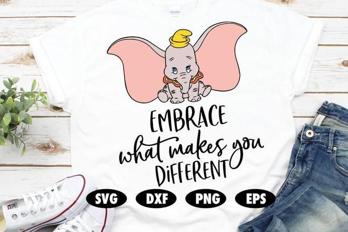 Embrace what makes you different svg, Dumbo svg, Dumbo cut file, Disney SVG,