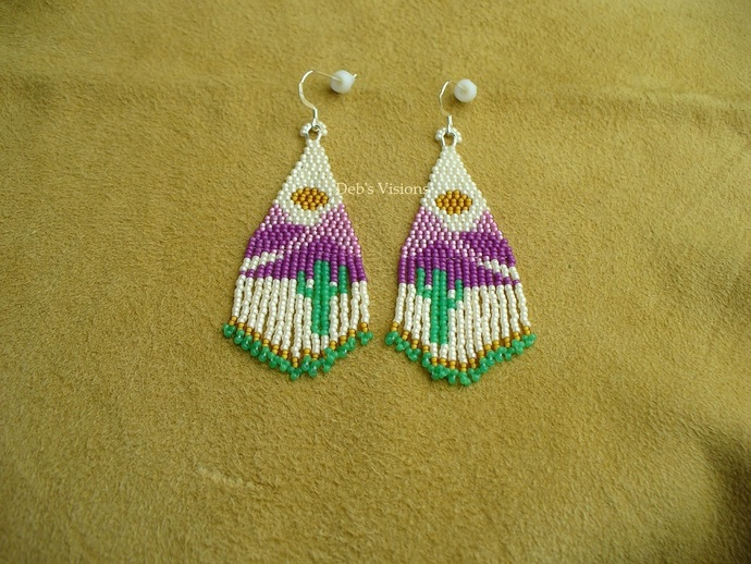 Native American Style Two Drop Brick Stitched Arizona Desert Sunset Earrings