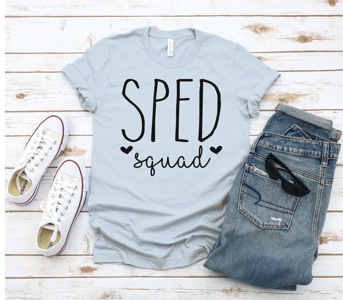 SPED Squad with hearts Tee, Team Teacher Shirt, School Spirit Shirt,  SPED
