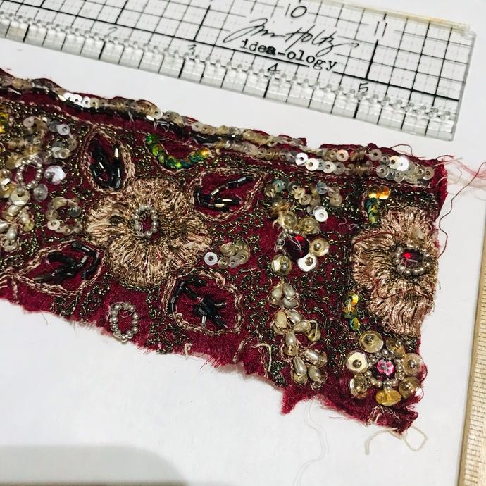 T27 Vintage Beaded Boho Trim Piece, Junk Journal Embellishments, Beaded scraps,