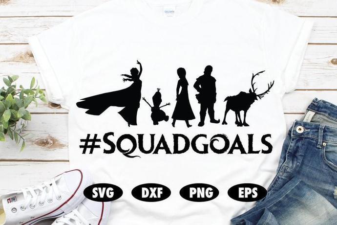 Frozen svg, Squadgoals svg, Elsa svg, Anna svg, Olaf svg, Disney SVG, Snowman