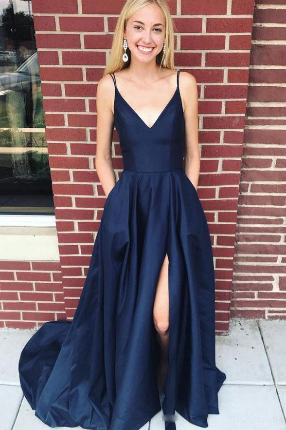Navy Blue Satin Straps V-neckline Long Prom Dress, A-line Formal Dress 2021