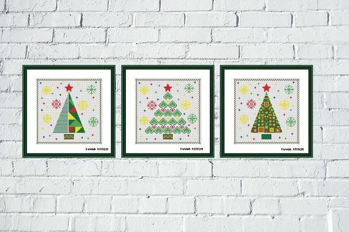Christmas tree cross stitch ornaments Set of 3 patterns
