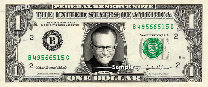 LARRY KING on a REAL Dollar Bill Cash Money Collectible Memorabilia Celebrity