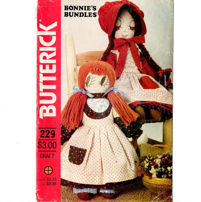 Butterick 4313/229 Two Stuffed Dolls with Clothes Vintage Sewing Pattern Uncut