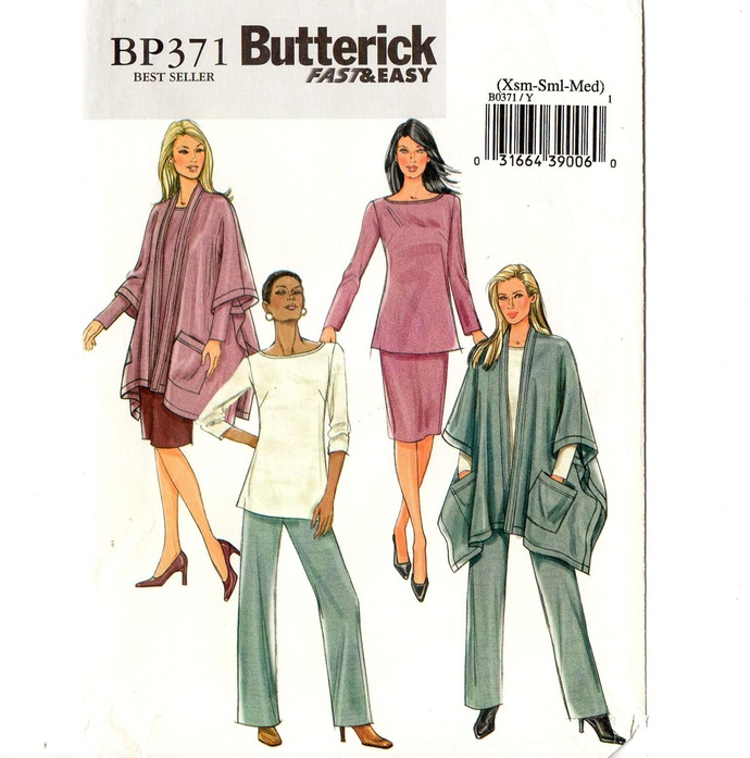 Butterick 4297/BP371 Misses Jacket, Top, Skirt, Poncho Sewing Pattern Size XS,