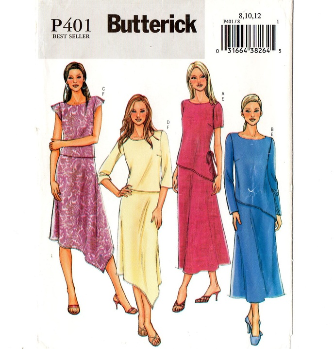 Butterick P401/4064 Misses Top, Skirt Sewing Pattern Uncut Size 8, 10, 12