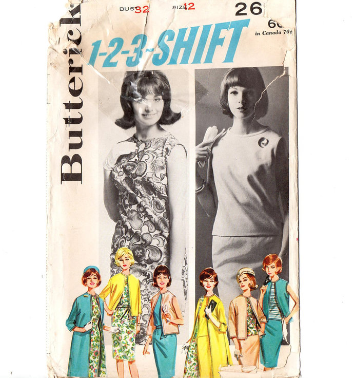 Butterick 2624 Misses Dress, Overblouse, Skirt, Coat, Jacket 60s Vintage Sewing