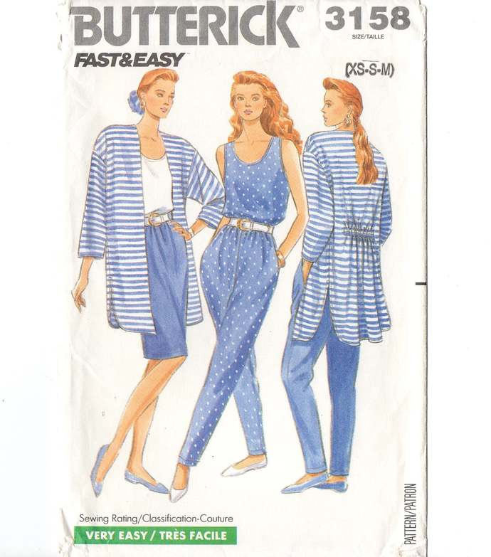 Butterick 3158 Misses Jacket, Tank Top, Skirt, Pants 80s Vintage Sewing Pattern
