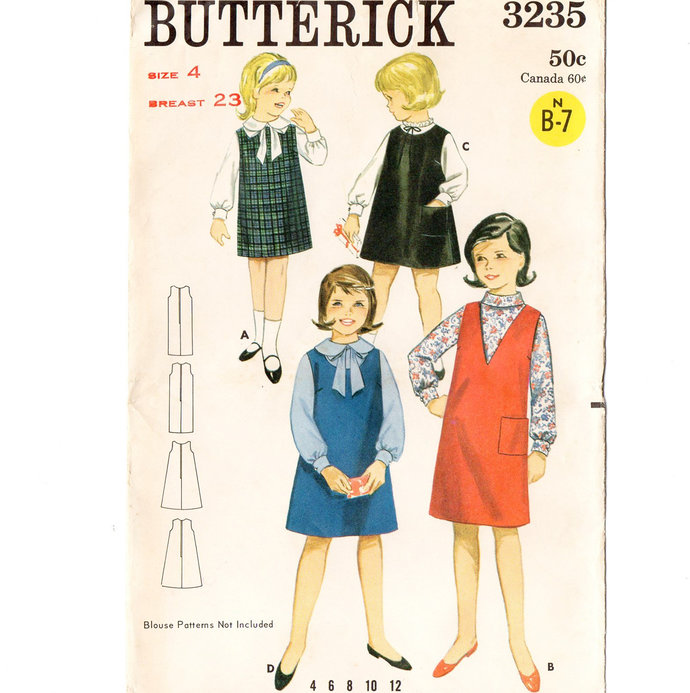Butterick 3235 Girls Jumper 60s Vintage Sewing Pattern Size 4 Chest 23 A-Line or