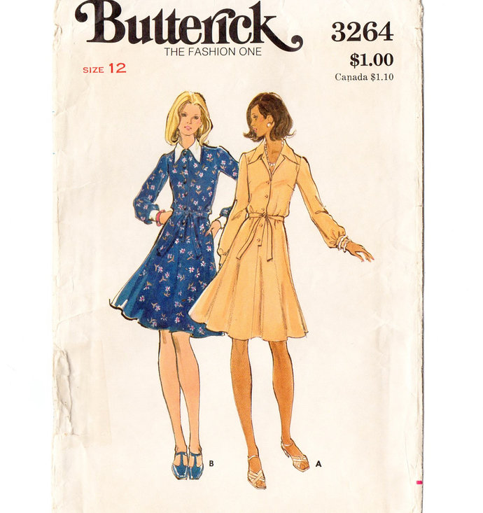 Butterick 3264 Misses Flared Dress 70s Vintage Sewing Pattern Size 12 Bust 34