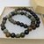 Green African Opal And Ebony Wood Stretch Bracelet Duo