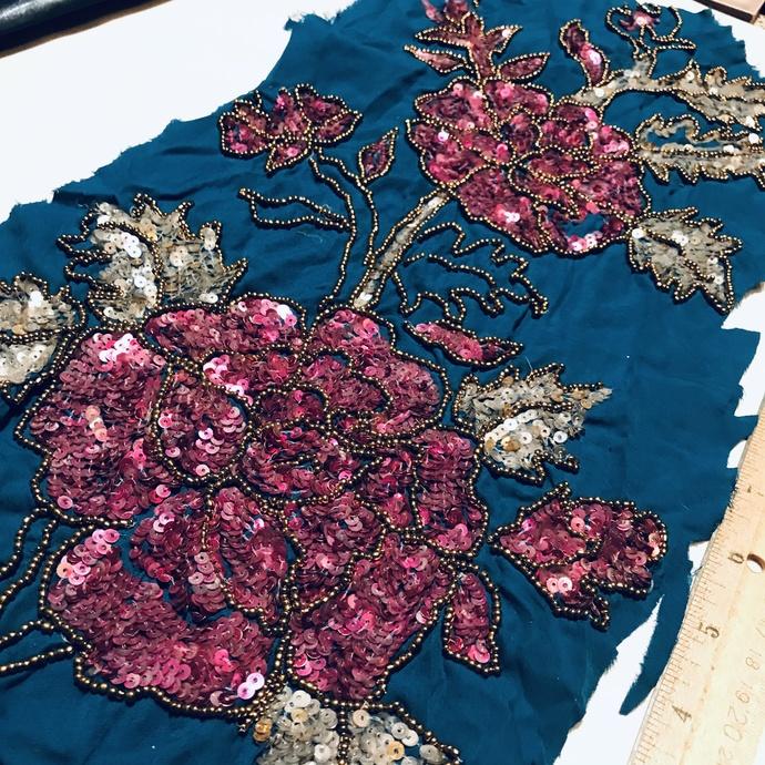 L33 Vintage Beaded Boho Piece, Junk Journal Embellishments, Beaded scraps, Sari