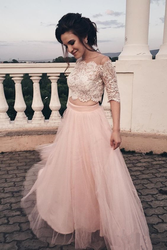 Light Pink Lace and Tulle Two Piece Formal Dress, Short Sleeves Party Dress