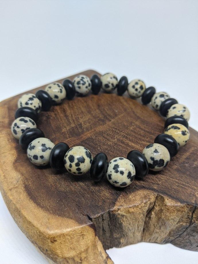 Dalmatian Jasper And Black Matte Glass Bead Stretch Bracelet