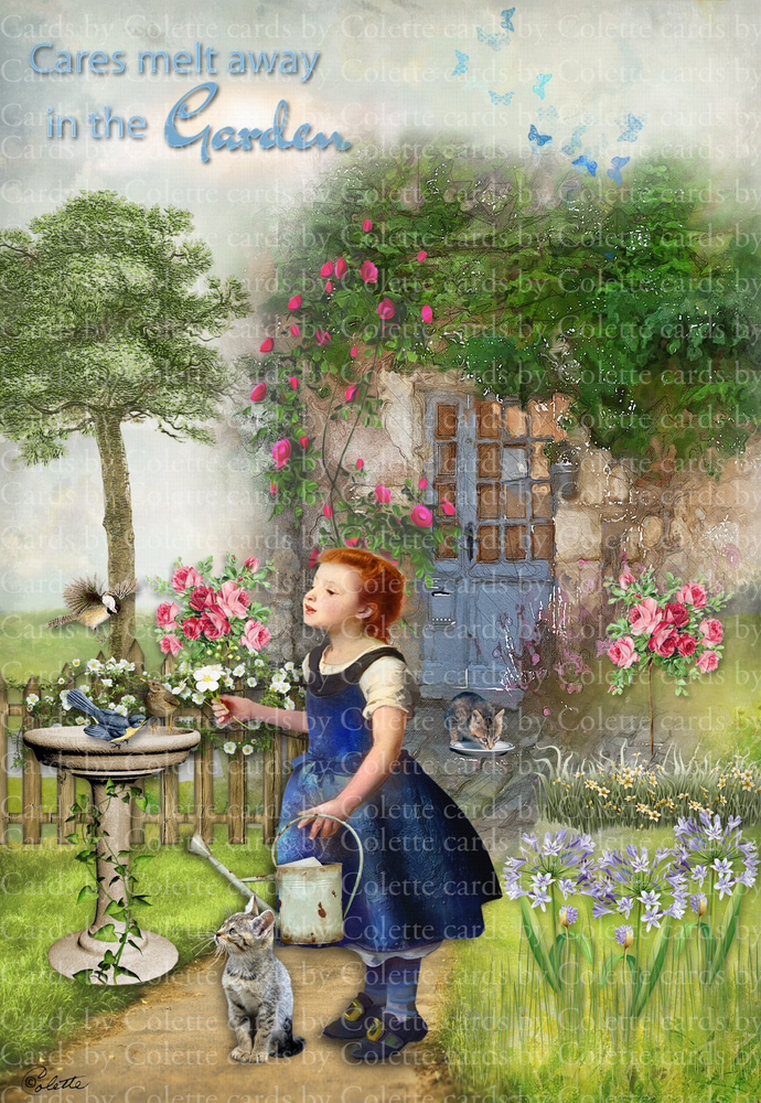 Girl in a Cottage Garden Digital Collage Greeting Card1011