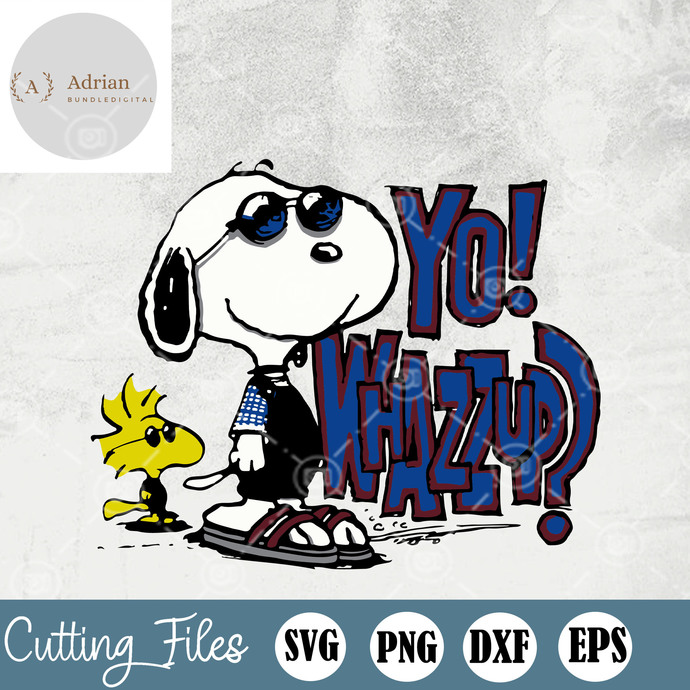 Woodstock And Snoopy SVG, Yo Whazzup SVG, Cartoon SVG, EPS, DXF, PNG