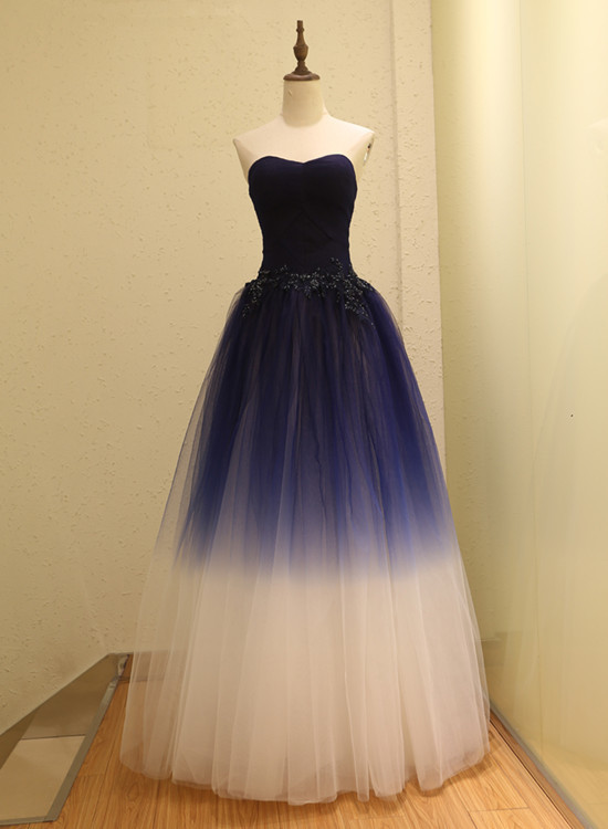 Pretty Gradient Tulle Sweetheart Lace Applique Party Dress, Long Formal Dress