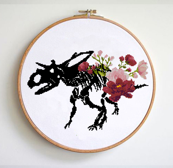 Dinosaur bones floral anatomy cross stitch pattern Easy cross stitch chart