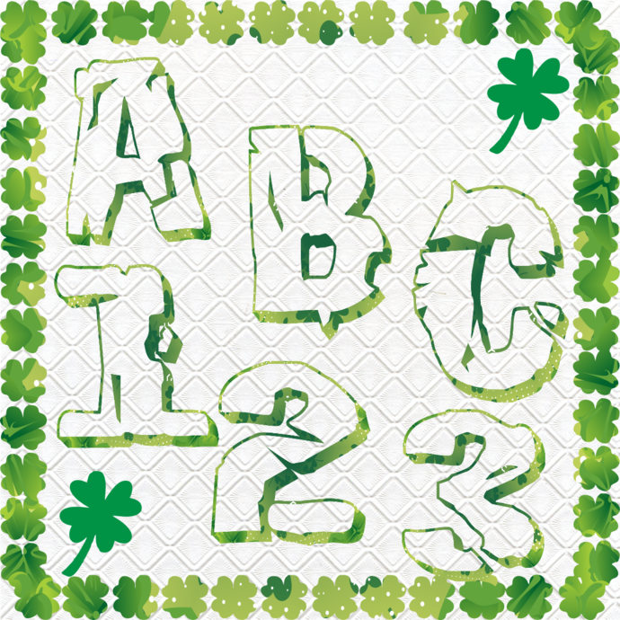 ABC and Numbers 45a-Digital ClipArt-Fonts-Art Clip-Clover-Gift