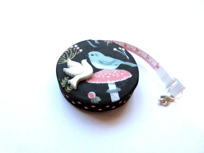 Tape Measure Birds on Mushrooms Small Retractable Measuring Tape
