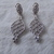 Judith Ripka signed sterling silver clear cz crystals dangle pierced earrings