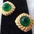 vintage Monet signed green glass matte gold comfort clip on earrings mint nos