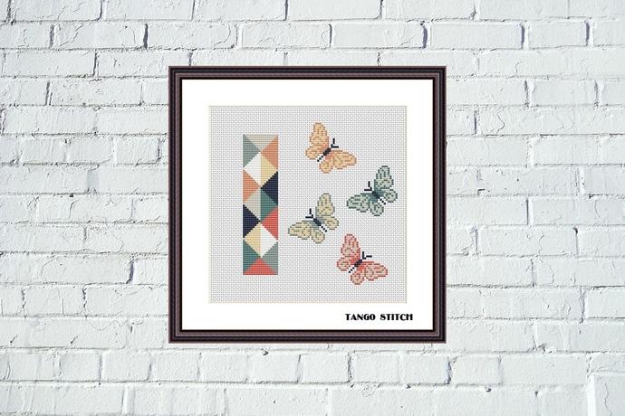 Letter I and three cute butterflies geometric nursery cross stitch pattern