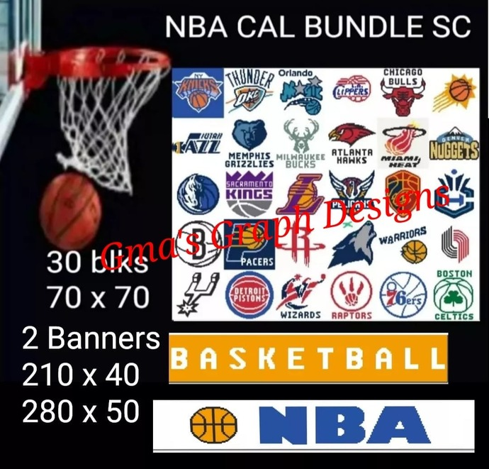 NBA Cal Bundle 30 blks 70 x 70 sc and 2 banners, 210 x 40 and 280 x 50 sc