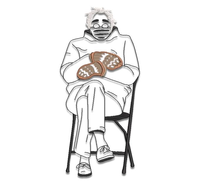 Bernie Sanders embroidery design Bernie Mood Sitting machine pattern