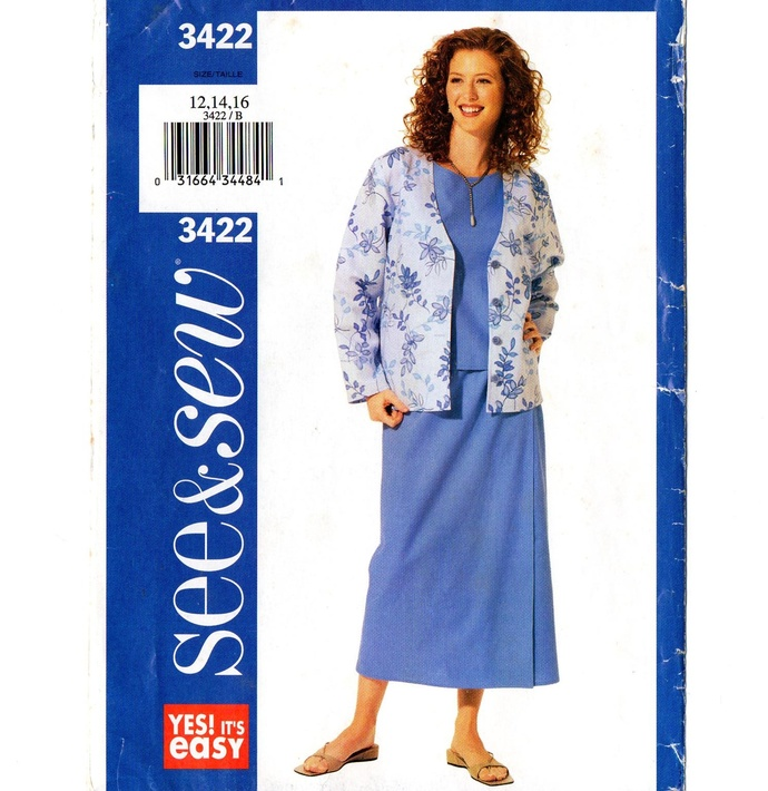 Butterick 3422 Misses Jacket, Top, Skirt Sewing Pattern Uncut Size 12, 14, 16