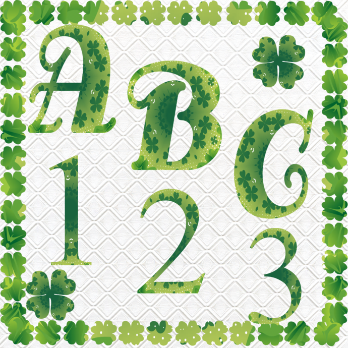 ABC and Numbers 46a-Digital ClipArt-Fonts-Art Clip-Clover-Gift