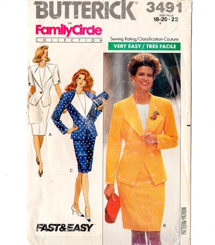 Butterick 3491 Misses Jacket, Skirt, Top 80s Vintage Sewing Pattern Size 18, 20,