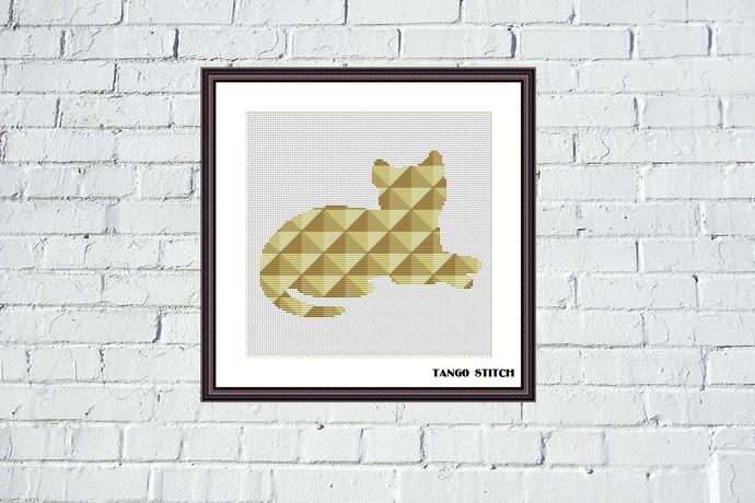 Beige geometric cat cross stitch pattern
