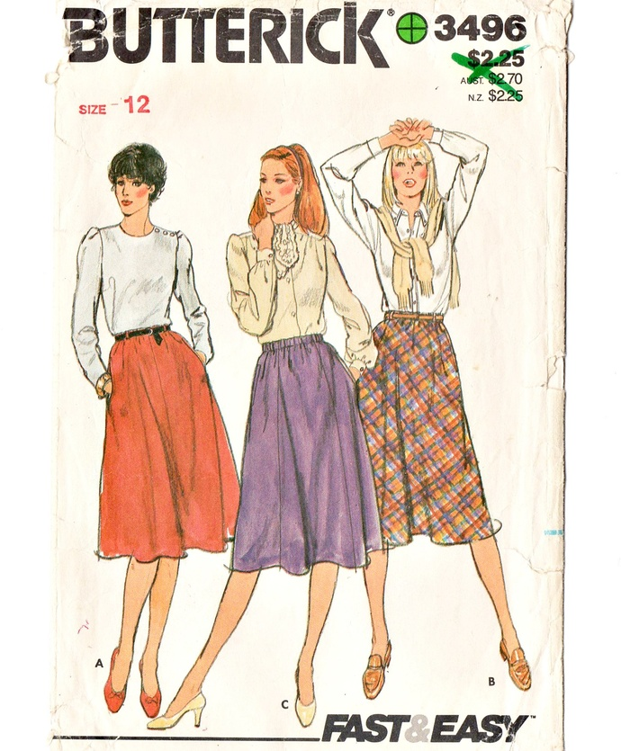 Butterick 3496 Misses Flared Skirts 80s Vintage Sewing Pattern Size 12 Waist 26