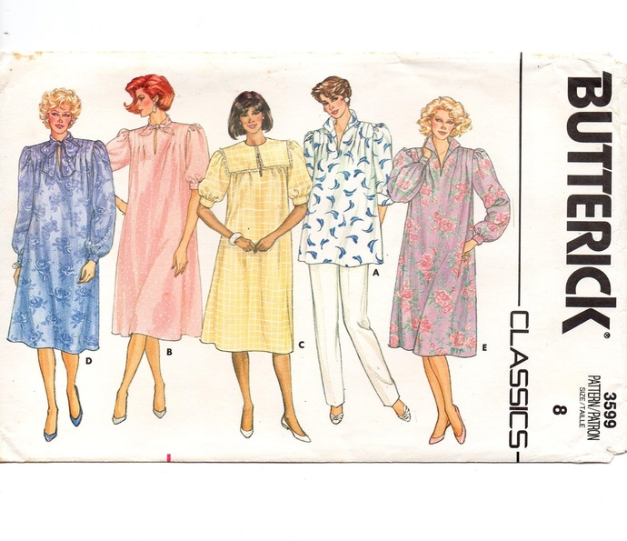 Butterick 3599 Misses Maternity Dress, Top, Pants 80s Vintage Sewing Pattern