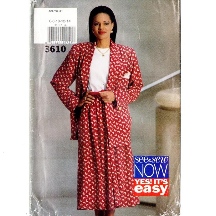 Butterick 3610 Misses Jacket, Skirt, Top 90s Vintage Sewing Pattern Uncut Size