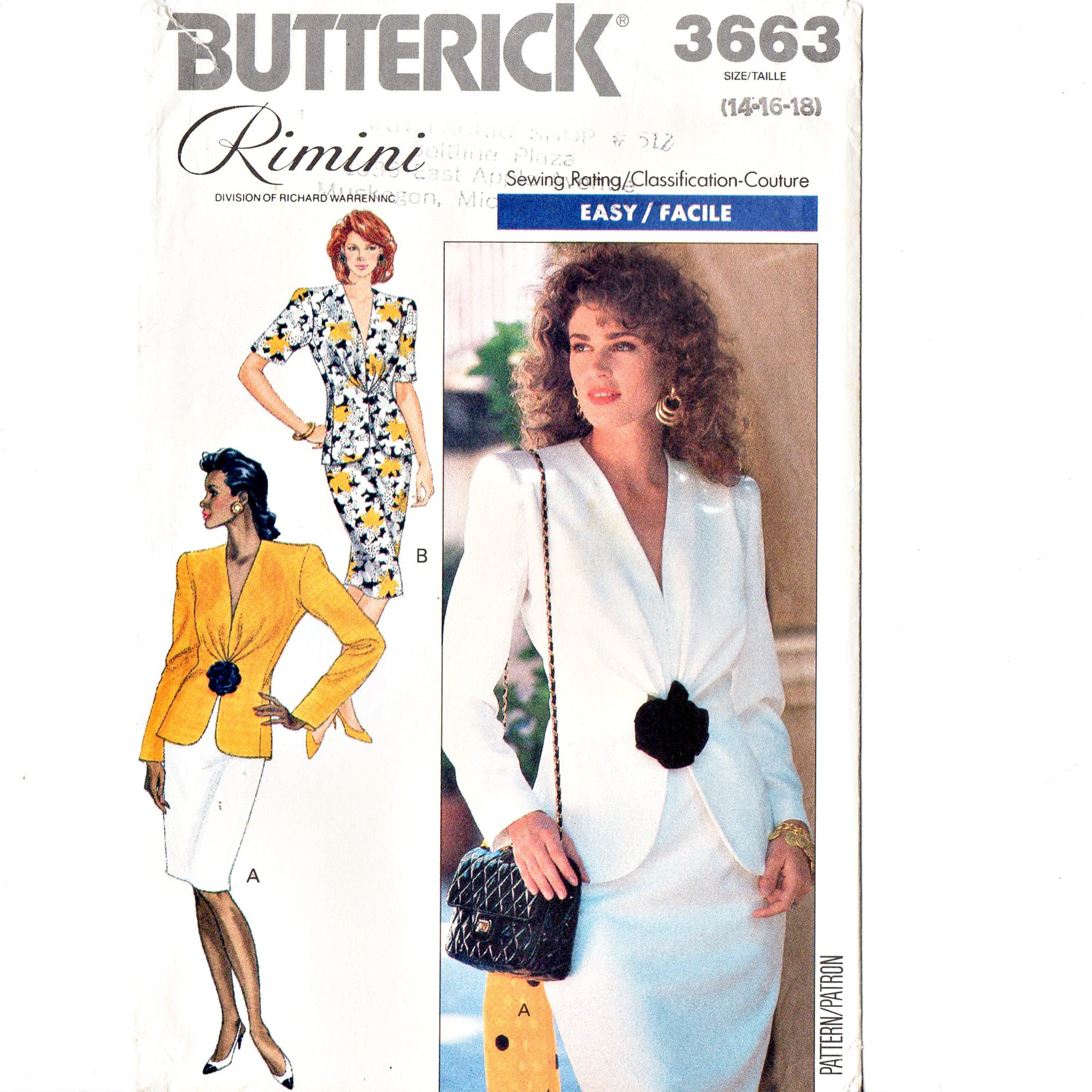 Butterick 3663 Rimini Misses Top, Skirt 80s Vintage Sewing Pattern UNCUT Size