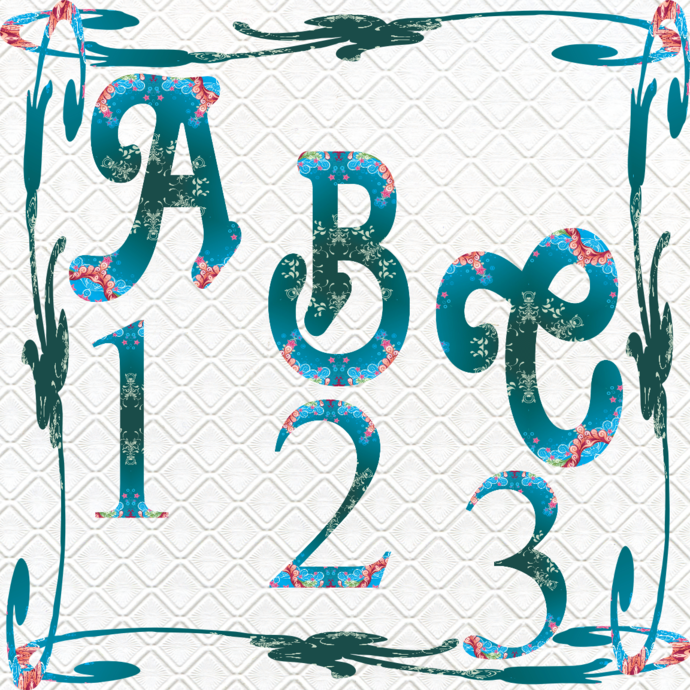ABC and 123 48a-Digital ClipArt-Fonts-Art Clip-Flower-Gift